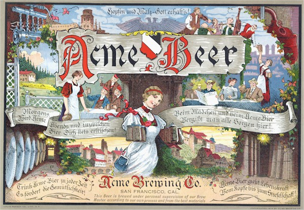 Acme Beer trade mark label c. 1914 - image