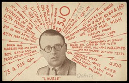 """Laurie"" QSL card"